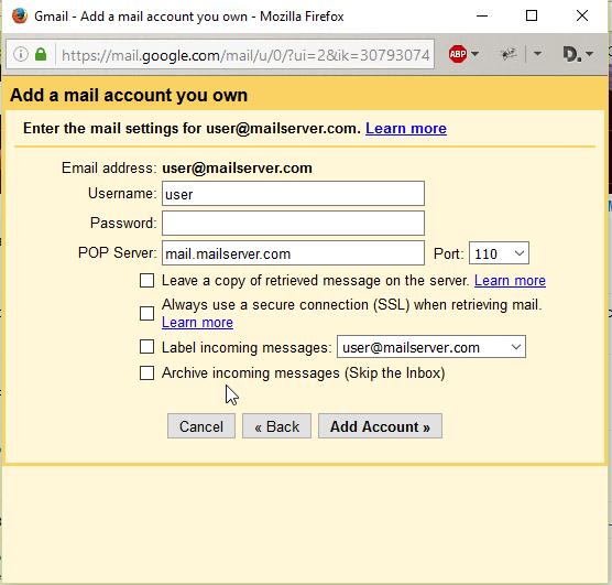 Gmail pop 3